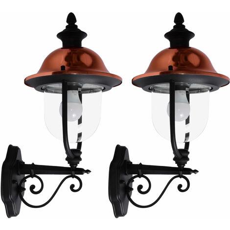 Ensemble de 2 lanternes de projecteurs de façades de lanternes extérieures de style de mur de style de pays dans l'ensemble incl des ampoules de LED