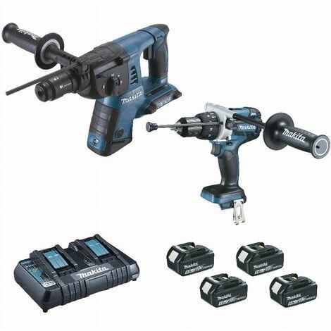 Ensemble de 2 machines 18 V Li-Ion 5 Ah (DHR264 + DHP481) MAKITA - 2 batteries, chargeur, coffret - DLX2101PTJ