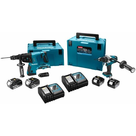 Ensemble de 2 machines 18 V Li-Ion 5 Ah (DHR264 + DHP481) MAKITA - 2 batteries, chargeur, coffret - DLX2101PTJ