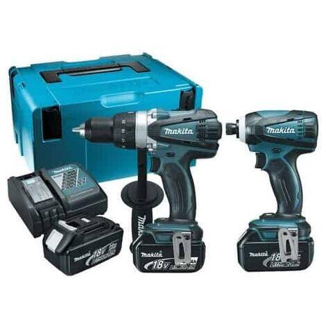 Ensemble de 2 machines MAKITA 18V Perceuse DDF458 + Visseuse à chocs DTD152 + 3 batteries, chargeur, coffret - DLX2144TJ1