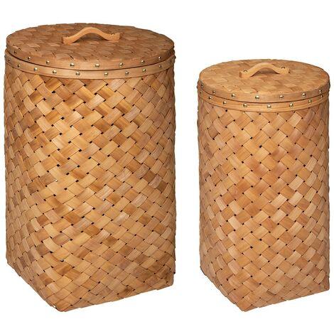Ensemble de 2 paniers à linge en bois clair - Beige