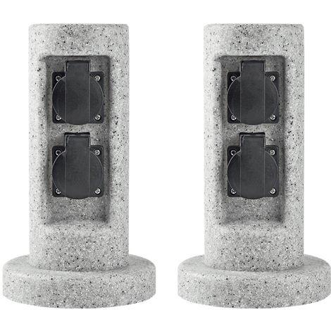 Ensemble de 2 prises de courant extérieures 2 colonnes de pilier énergie conception en pierre terrasse jardin jardin distributeur d'électricité gris