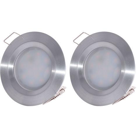 Ensemble de 2 spots à encastrer à LED. ALU, dimmable, D 7,8 cm, COIN SLIM