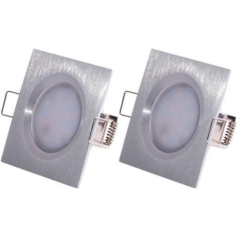 Ensemble de 2 spots encastrables à LED, aluminium, dimmable, L 7.8 cm, COIN SLIM