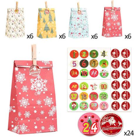 Ensemble de 24 pièces de Noël Sacs en papier Kraft Sacs-cadeaux colorés Calendrier de l'avent de Noël Ensemble de sacs en papier d'emballage