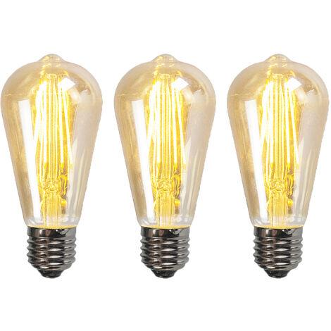 """main image of """"Ensemble de 3 lampes à fumée à filament LED réglables E27 ST64 5W 450 lumen 2200K Luedd"""""""