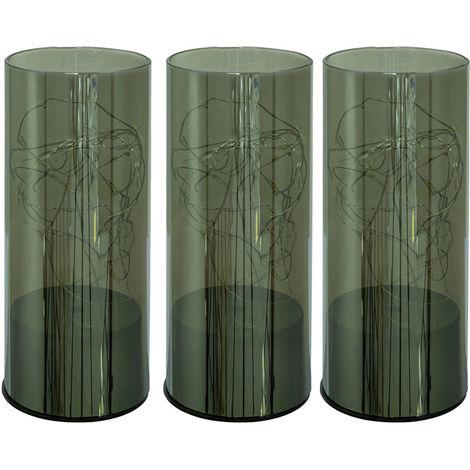 Ensemble de 3 lampes de table de nuit à LED planches de plancher en verre guirlandes décoratives lampes de lecture fumée