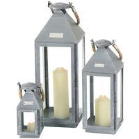 Ensemble de 3 lanternes, gris fer, corde, Hannibal