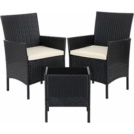 Ensemble de 3 Meubles de Jardin Surface tressée, Salon de Jardin avec 2 chaises, 1 Table avec Plateau en Verre trempé, 2 Coussins avec Housses Amovibles, Noir et Beige GGF001B01