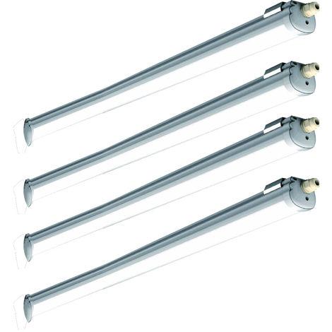 Ensemble de 4 baignoires à LED lampe atelier sous-sol entrepôt halls salle humide lumière du jour plafonnier