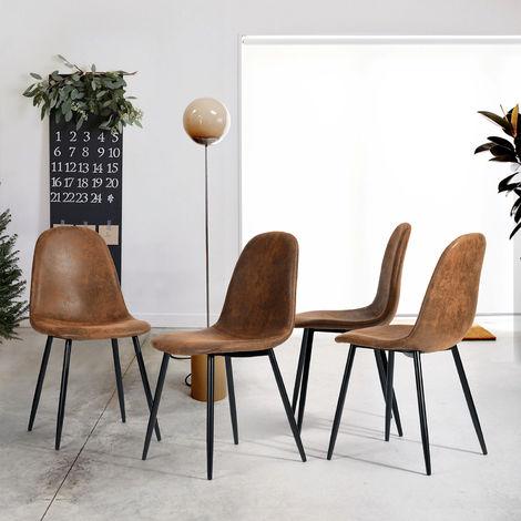 Ensemble de 4 chaises en suédine marron.