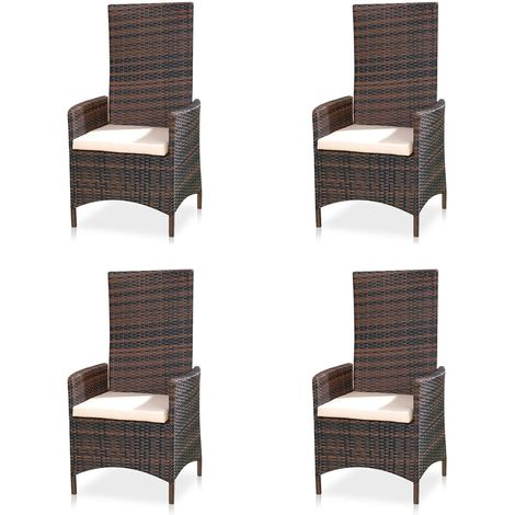 Ensemble de 4 fauteuils de jardin réglables Meubles de jardin Polyrattan sièges de balcon
