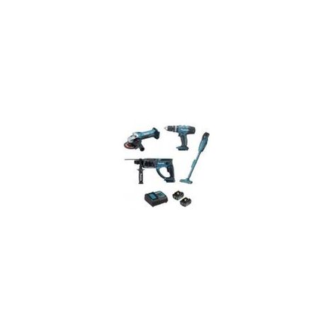 Ensemble de 4 machines 18 V li-Ion 3 Ah (DHP453 + DGA452 + DHR202 + DCL180) MAKITA DLX4126S