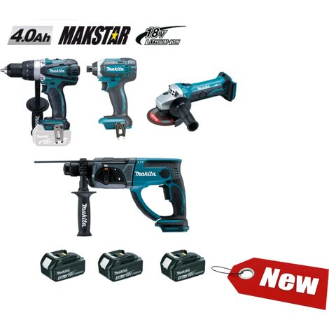 Ensemble de 4 machines 18 V Li-Ion 4 Ah (DDF458 + DTD152 + DHR202 + DGA452) MAKITA - DLX4054MX1 - -
