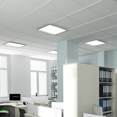 Lot de 4 plafonniers LED en saillie ALU encastrable au plafond blanc
