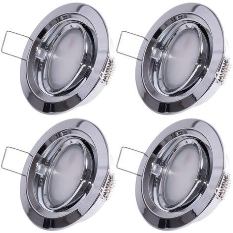Ensemble de 4 spots à LED encastrés, orientables, D 8,4 cm COIN SLIM