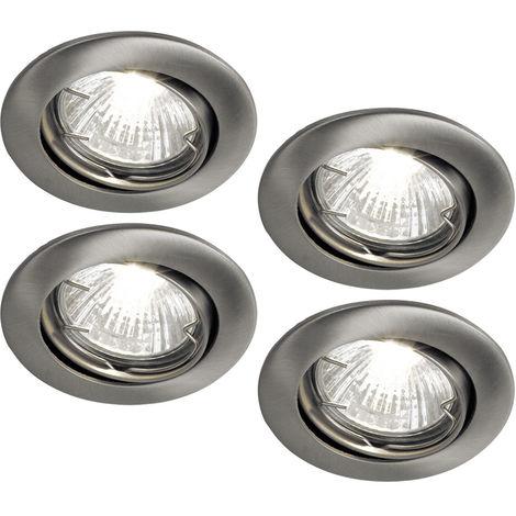 Ensemble de 4 spots encastrés à LED, nickel mat, D 8 cm, TINUS