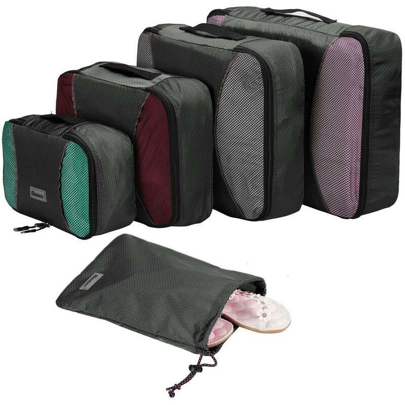 Ensemble de 4pcs stockage de Cubes d'emballage sacs en tissu organisateur Gris - Gris