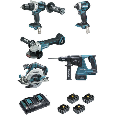 Ensemble de 5 machines MAKITA 18V Li-Ion 5.0 Ah - Perfo-burineur + Visseuse + Perceuse + Meuleuse + Scie circulaire - DLX5038PTJ