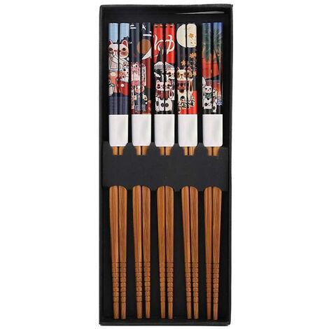 Ensemble de 5 paires de baguettes, baguettes réutilisables naturelles en bambou, ensemble-cadeau de baguettes-chat chanceux