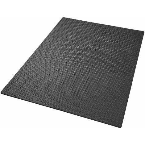 Ensemble de 6 dalles carrées eva tapis de sol sport noir - Noir