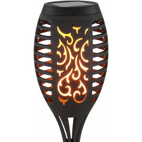 Ensemble de 6 lampes solaires extérieures à LED Spikes au sol Décor décor poinçonnage Effet feu Lampes de jardin
