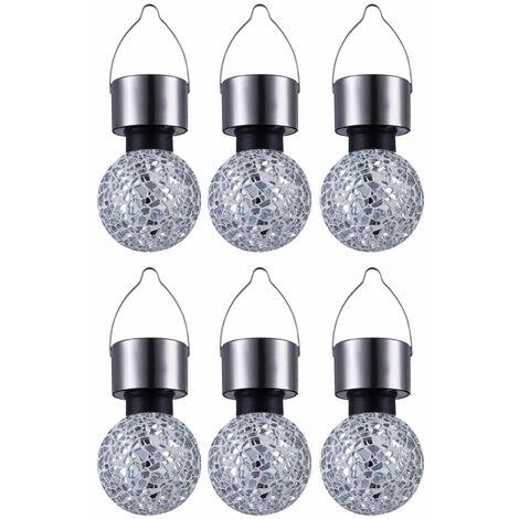 Ensemble de 6 lumières solaires suspendues rondes boule de jardin Lampes de miroir éclats de mosaïque argent décoratifs