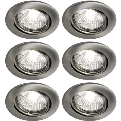 Ensemble de 6 spots à encastrer à LED, nickel mat, D 8 cm, TINUS