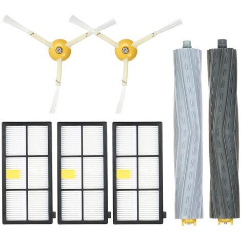 Ensemble de 7 accessoires pour aspirateur serie IRobot8 / 9 (1 paire de brosse principale + 2 brosses laterales + 3 filtres)