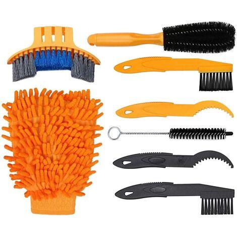 Ensemble de 7 nettoyants pour outils de vélo pour divers modèles, y compris une brosse pour roue de pneu de chaîne de vélo