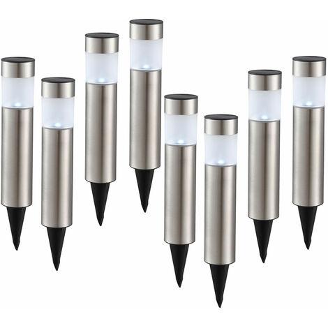 """main image of """"Ensemble de 8 lampes enfichables solaire LED chemin de jardin éclairage extérieur IP44 lampes à pointes en acier inoxydable"""""""