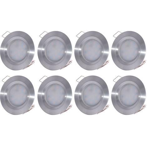 Ensemble de 8 spots encastrés à LED. ALU, dimmable, D 7,8 cm, COIN SLIM