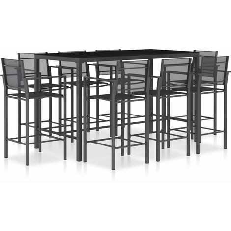 vidaXL Ensemble de bar 9 pcs Textilène Anthracite