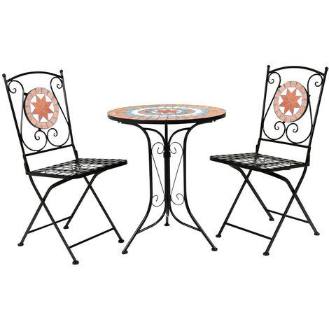 Ensemble de bistro 2 places en mosaïque en terre cuite Table de jardin 2  chaises