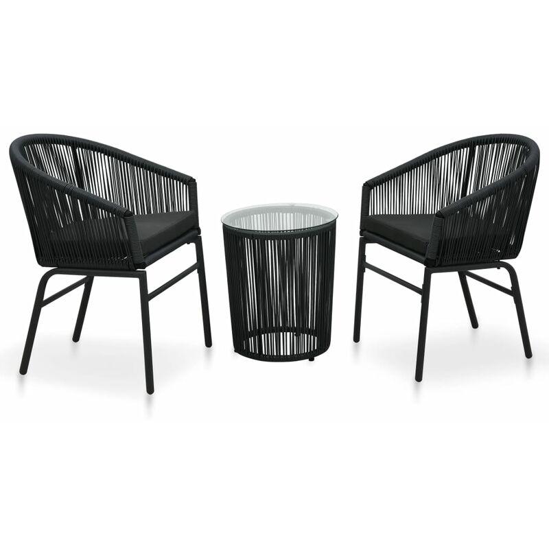 Vidaxl - Ensemble de bistro 3 pcs avec coussins Rotin PVC Noir