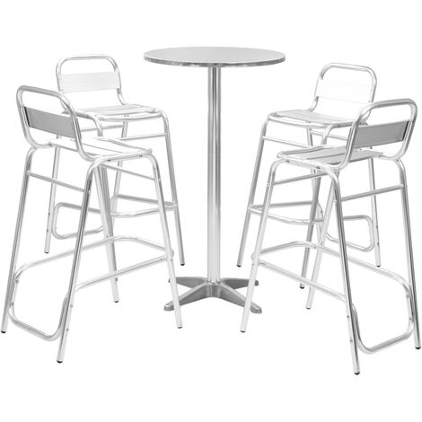 Ensemble de Bar avec Table Ronde Argenté Aluminium 5 pcs