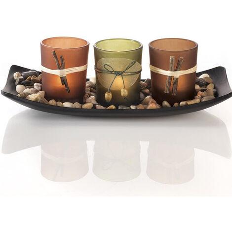 Ensemble de bougies naturelles Dawhud Direct, 3 bougeoirs décoratifs, pierres et plateau
