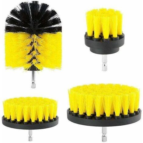 Ensemble de brosses pour nettoyer les baignoires, les éviers, les plinthes, les écrans de douche et les carreaux de piscine (lot de 4) (Raideur modérée Bohrbürsten) Jaune - jaune