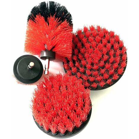 Ensemble de brosses pour nettoyer les baignoires, les éviers, les plinthes, les écrans de douche et les carreaux de piscine (lot de 4) Rouge - Rouge