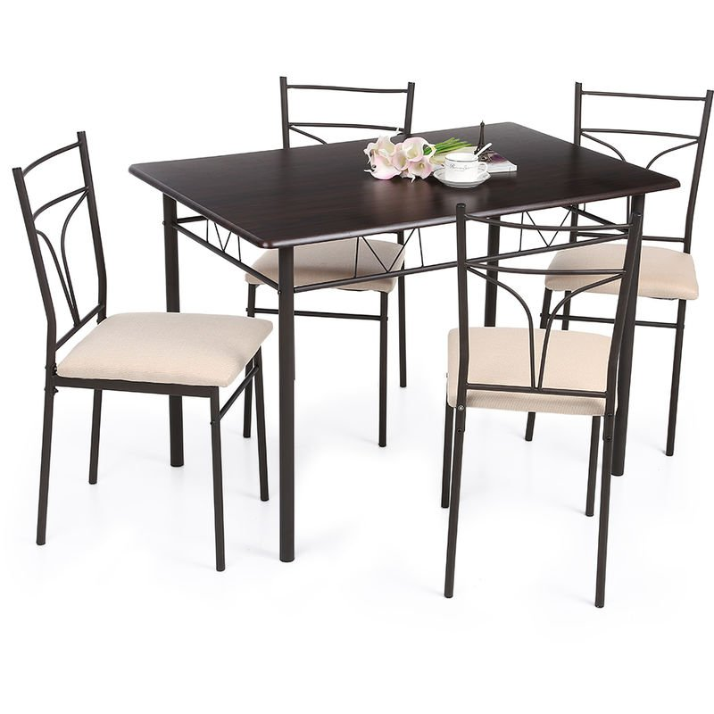 Ensemble De Chaises De Table De Cuisine A Manger Moderne, 5 Pieces, (Peut regarder la video)
