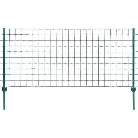 Ensemble de clôture Euro 20 x 1,5 m Acier Vert