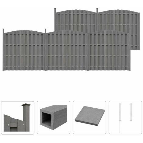 Ensemble de clôture WPC 5 Courbé 932 x (165-185) cm Gris