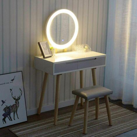 Ensemble de coiffeuse avec écran tactile LED éclairé à gradation de miroir Table de bureau avec 2 tiroirs et tabouret rembourré pour chambre