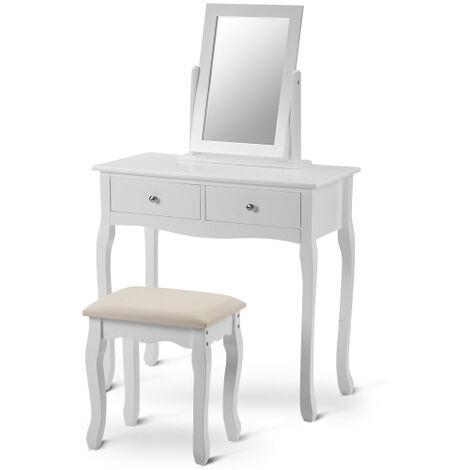Ensemble de coiffeuse blanche avec miroir et tabouret Maquillage Bureau Commode Chambre