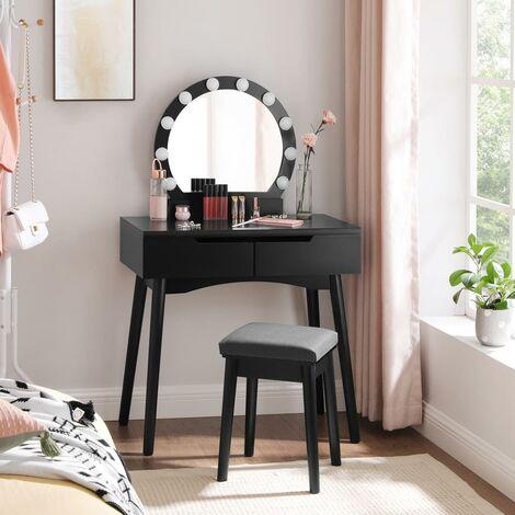 Ensemble de Coiffeuse, Coiffeuse avec Miroir et Ampoules pour Maquillage, Tabouret rembourré et 2 Grand Tiroirs, Blanc/Noir