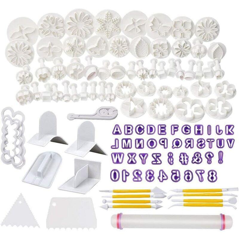 Bares - Ensemble de coupe-biscuits à fondant de 114 pièces pour lettres, chiffres, ensemble de formes de fleurs de rose, outils à fondant, tampon