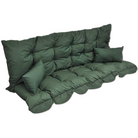 Ensemble de coussins 4 pcs pour balancelle Vert Tissu