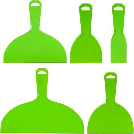 Ensemble de couteaux à mastic en plastique réutilisables Outil de grattoir flexible vert Outil de grattoirs à peinture flexible pour décalcomanies, papier peint, cuisson, mastic pour mur et voiture, rebouchage, réparation et peinture