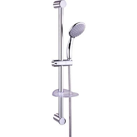 Ensemble de douche avec barre chromé Neptune - Diamètre douchette 100 mm - Longueur flexible 1,5 m