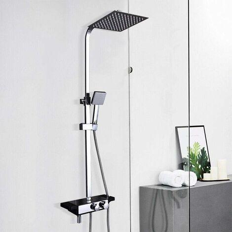 Ensemble de douche avec mitigeur et douchette à main Chromé Contemporain Débit max 6,81 l/min pour salle de bain douche
